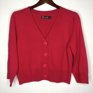 New York & Co Cropped Hot Pink Cardigan Size M